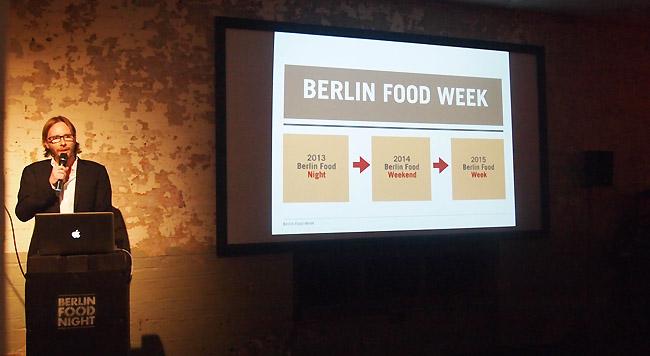 Alexander von Hessen stellt das Konzept der Berlin Food Week vor.