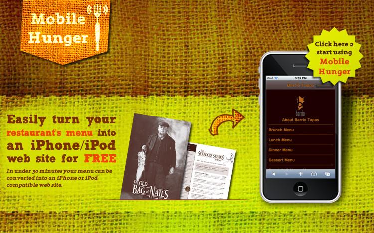 mobile hunger - nomyblog Mobile Hunger: Speisekarte kostenlos als mobile Webseite anzeigen