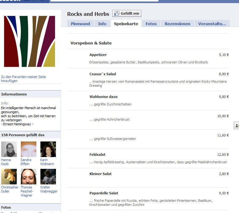 Food-Angebot in Facebook einbinden: neuer Service von Speisekarte.de